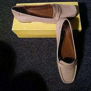 Taup patent loafers